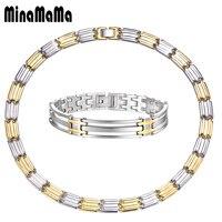 Neue Jahr Geschenk Übertrieben Vintage Silber Gold Mischungsfarbe Chunky Ketten Halsketten/Armband Edelstahl Schmuck Sets Für Frauen