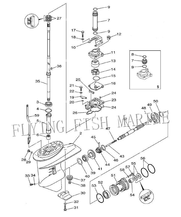 Boat Motor 65w4561100 Propeller Shaft For Yamaha Outboard Engine 4stroke: Yamaha Outboard Engine Diagram At Hrqsolutions.co