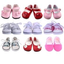 9 видов стилей обувь для кукол белая парусиновая обувь для 18 дюймов, американская и 43 см, Детская кукла для нашего поколения, Рождественская обувь для девочек