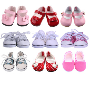 Doll Clothes Shoes White Tube Canvas Shoes For 18 Inch American &43 Cm Baby New Born Doll For Our Generation Christmas Girl`s(China)