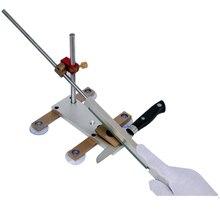 Keukenmes Apex puntenslijper met zuignap Messing glijbaan / chromen rail Professioneel messen slijpsteen
