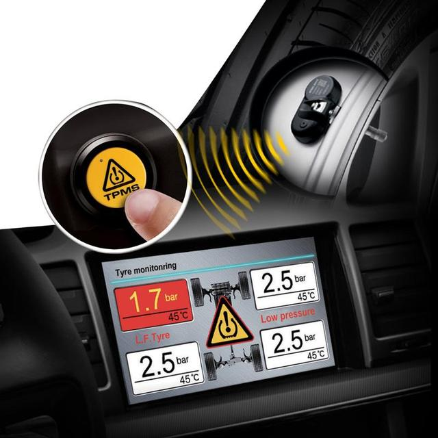 STEELMATE TPMS Wireless Tire Pressure Monitoring System Built-in Sensor for DVD Player Car Tire Alarm Systems & Security