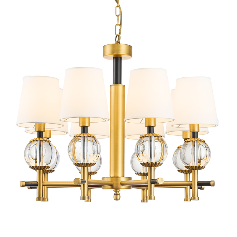 Creative metal Chandelier retro personality 8 arm cloth lampshade Luxury crystal ball light Fixtures E14 lamp gold AC220V 110V in Chandeliers from Lights Lighting