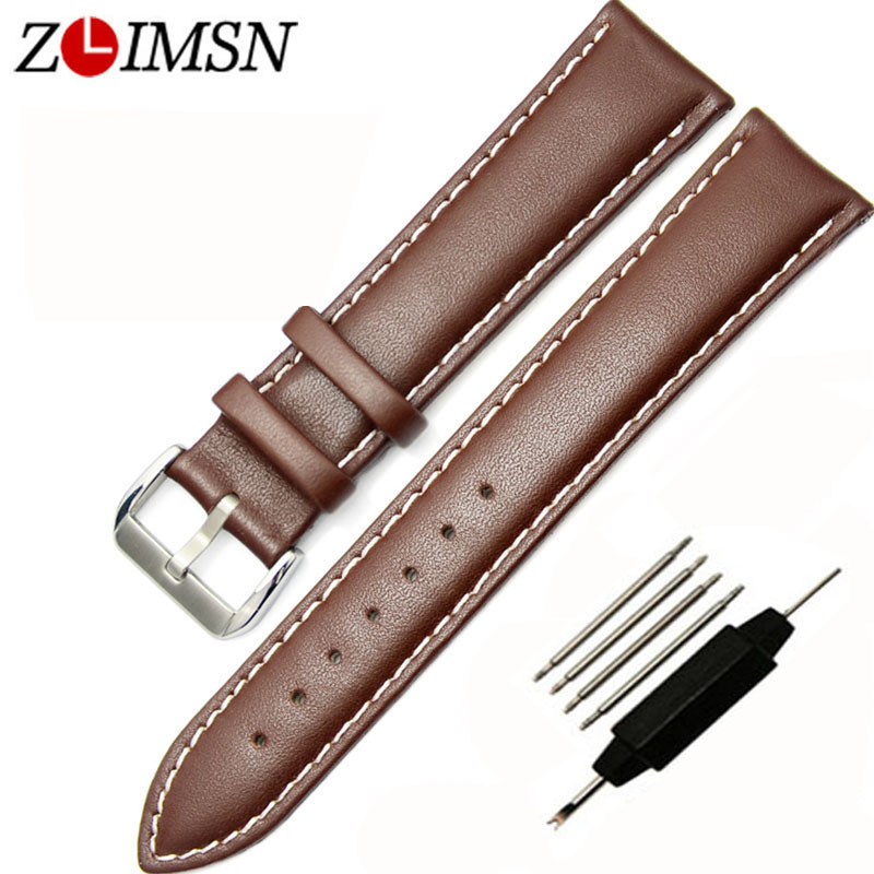 ZLIMSN 18 20 22 24mm Smooth Genuine Leather Watch Strap Replacement Black Brown Watchband Stainless Steel Buckle Promotion zlimsn men s watch band for panerai 20 22 24 26mm black brown watchband stainless steel buckle wrist belt genuine leather