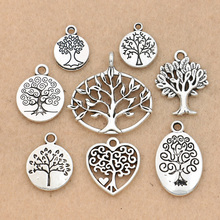 c9f422eaac75 Mezcla de colgantes de dijes de árbol de la vida bañados en plata tibetana para  hacer joyería accesorios de pulsera Diy accesori.