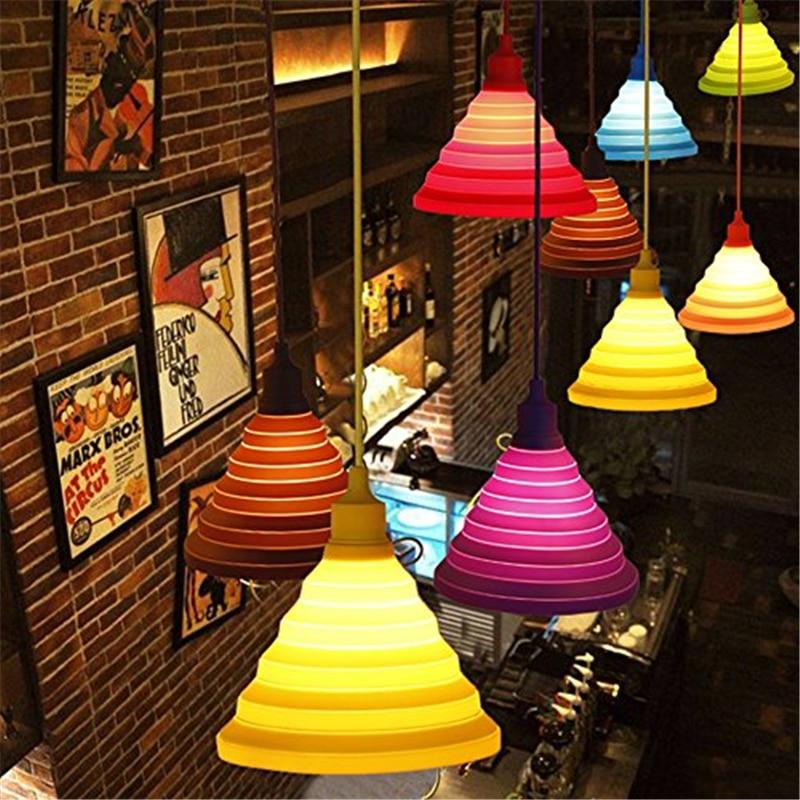 New Arrive Folding Lampshade Colorful Silicone Pendant Lamp E27 Lamp Holder Pendant Lighting Colorful Lights Pendant Lights