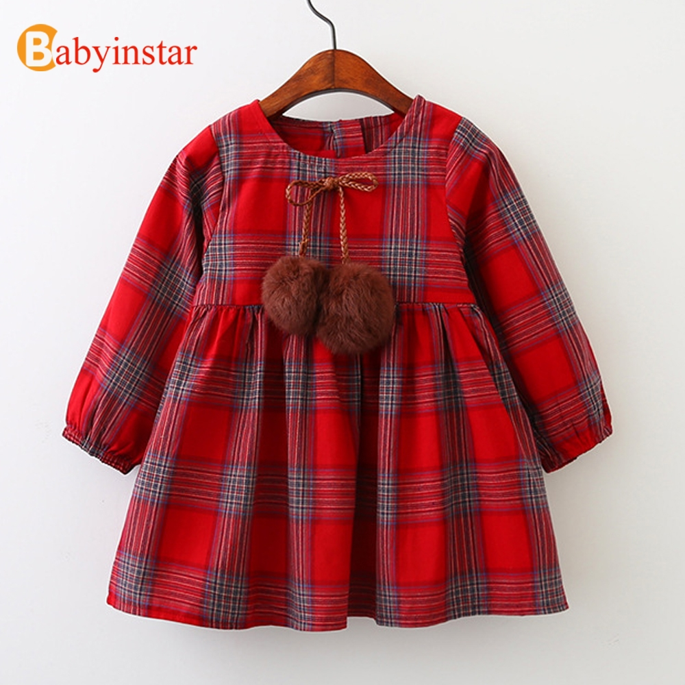 Babyinstar Cute Baby Princess Dress Autumn Long Sleeve Plaid Party Dress 2017 New Casual Kids Dresses for 3-8Yrs Girls belababy baby girls preppy style dress princess children autumn double breasted cute kids casual long sleeve dresses for girls