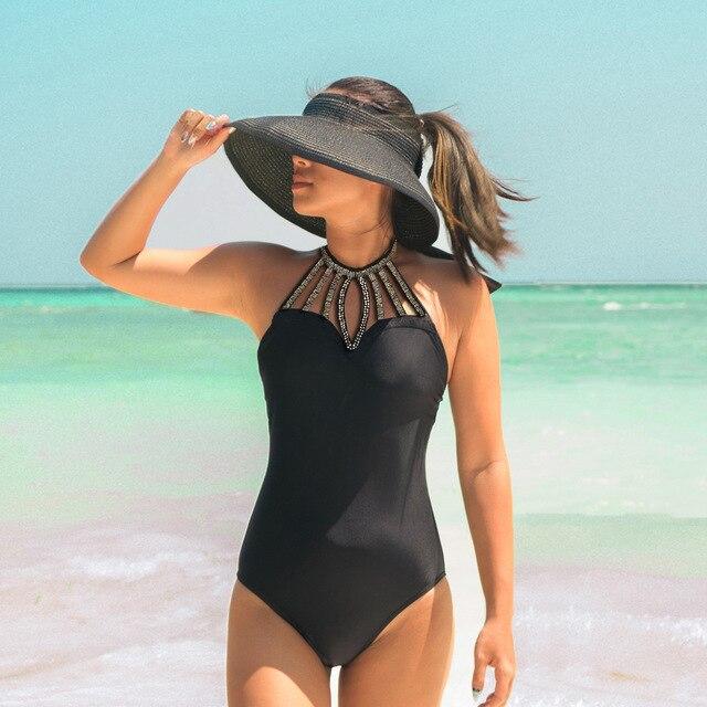 41555d74ff KEKAKA 2018 Sexy Sequin High Neck Halter One Piece Swimsuit Women Vintage  Black Plus Size Push Up Bathing Suit Cut Out Monokini