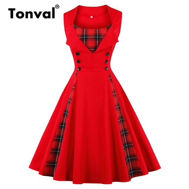 Tonval Plaid Vintage Red Tunic Summer Dress Women Button Pinup Girls 1950s  Dress 2018 Cotton Plus Size Retro Dresses 22a1b8e13c40