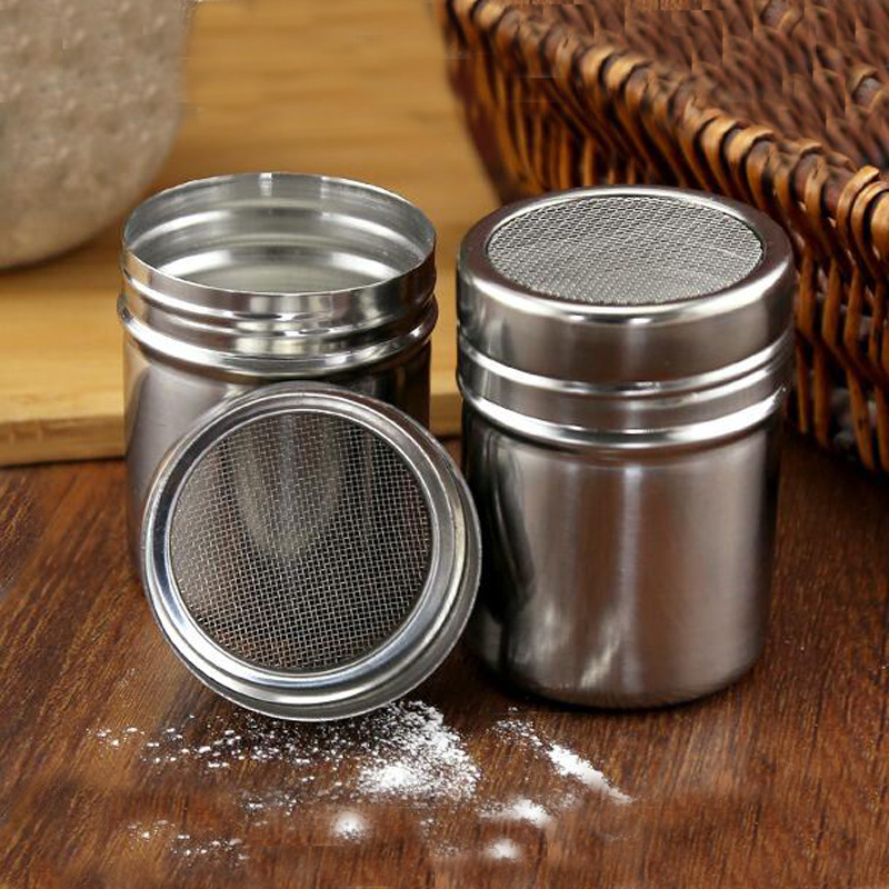 1PcStainless Steel Salt Sugar Pepper Shaker Box Cocoa Icing Powder Containers Home BBQ Baking Picnic Use 7*5 Cm