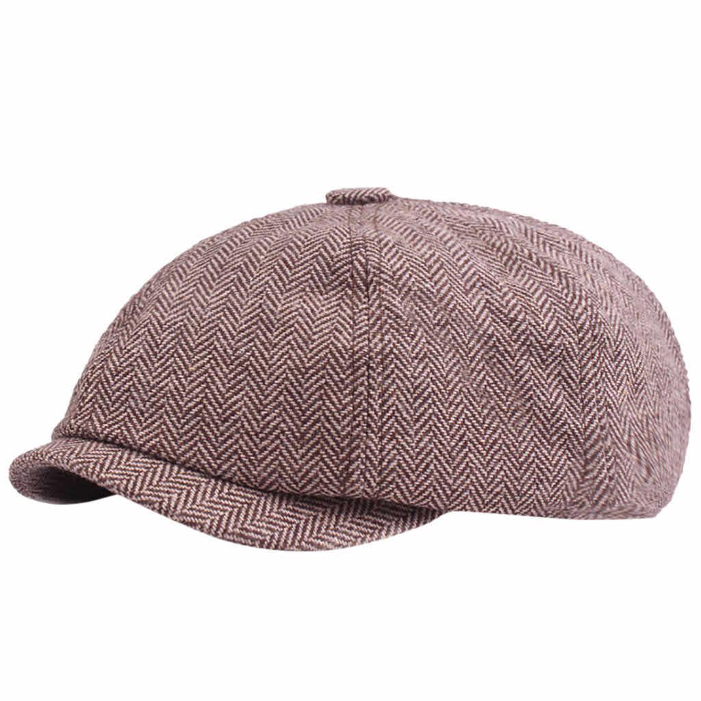 أسود رمادي متعرجة موزع الصحف بيكر الصبي تويد شقة كاب رجل غاتسبي قبعة