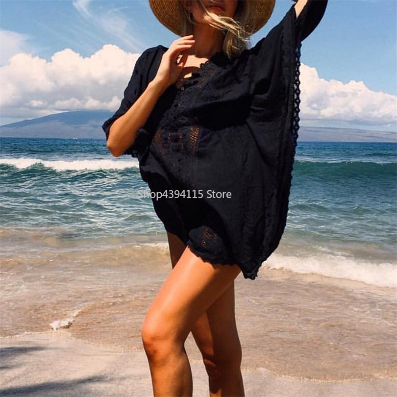 Careful Deep-v Neck Swimsuit Cover Ups Women Sexy Kaftan Beach Tunic Dress 2019 Summer Robe De Plage Cotton Pareo Beach Cover Up Rich And Magnificent
