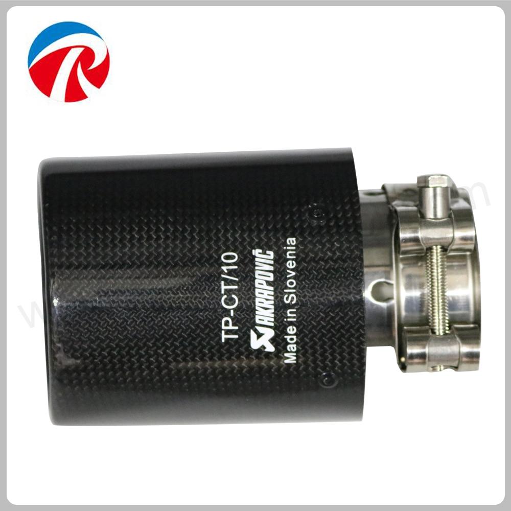 ID 51mm 54mm 57mm 60mm 63mm OD 76mm 89mm 101mm 114mm Brillant Noir Acier Inoxydable Akrapovic En Fiber De Carbone De Voiture D'échappement tuyaux