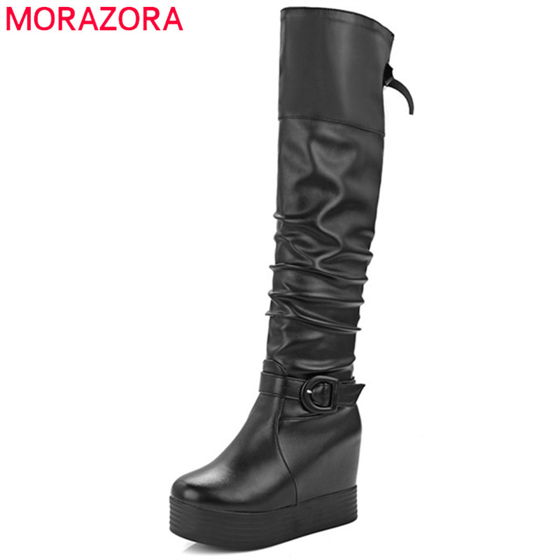 MORAZORA Big size 34-43 over the knee boots height increasing women boots female fashion shoes platform boots PU solid bowtie nasipal 2017 new women pu sexy fashion over the knee boots sexy thin high heel boots platform woman shoes big size 34 43 g804
