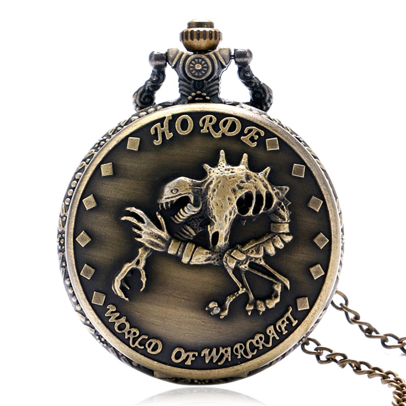 The Horde for WORLD OF WARCRAFT Bronze Quartz zakhorloge met ketting ketting Skull Pendant Vintage dames herenhorloge Geschenken