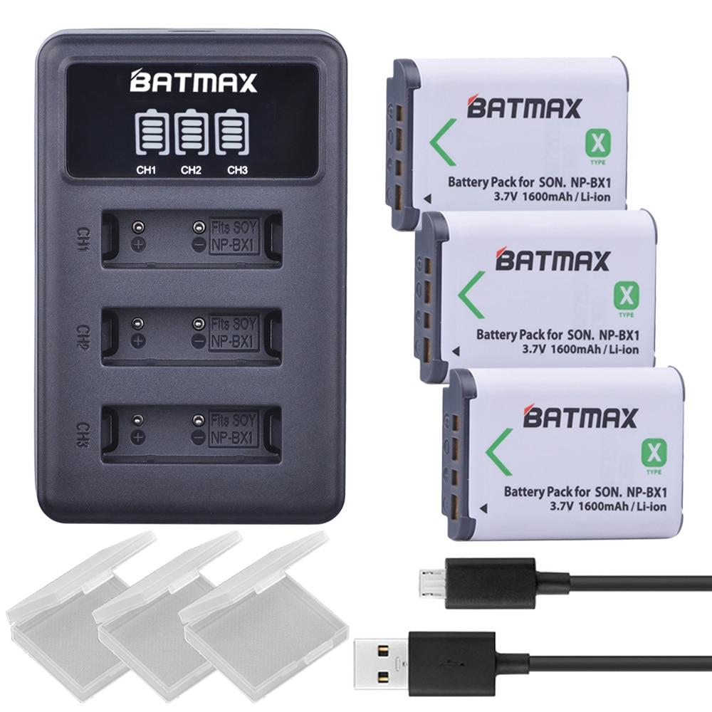 3X NP BX1 Bateria NP-BX1 Batterie + 3-Slots LED Chargeur pour Sony DSC RX1 RX100 AS100V M3 M2 HX300 HX400 HX50 HX60 GWP88 AS15 WX350