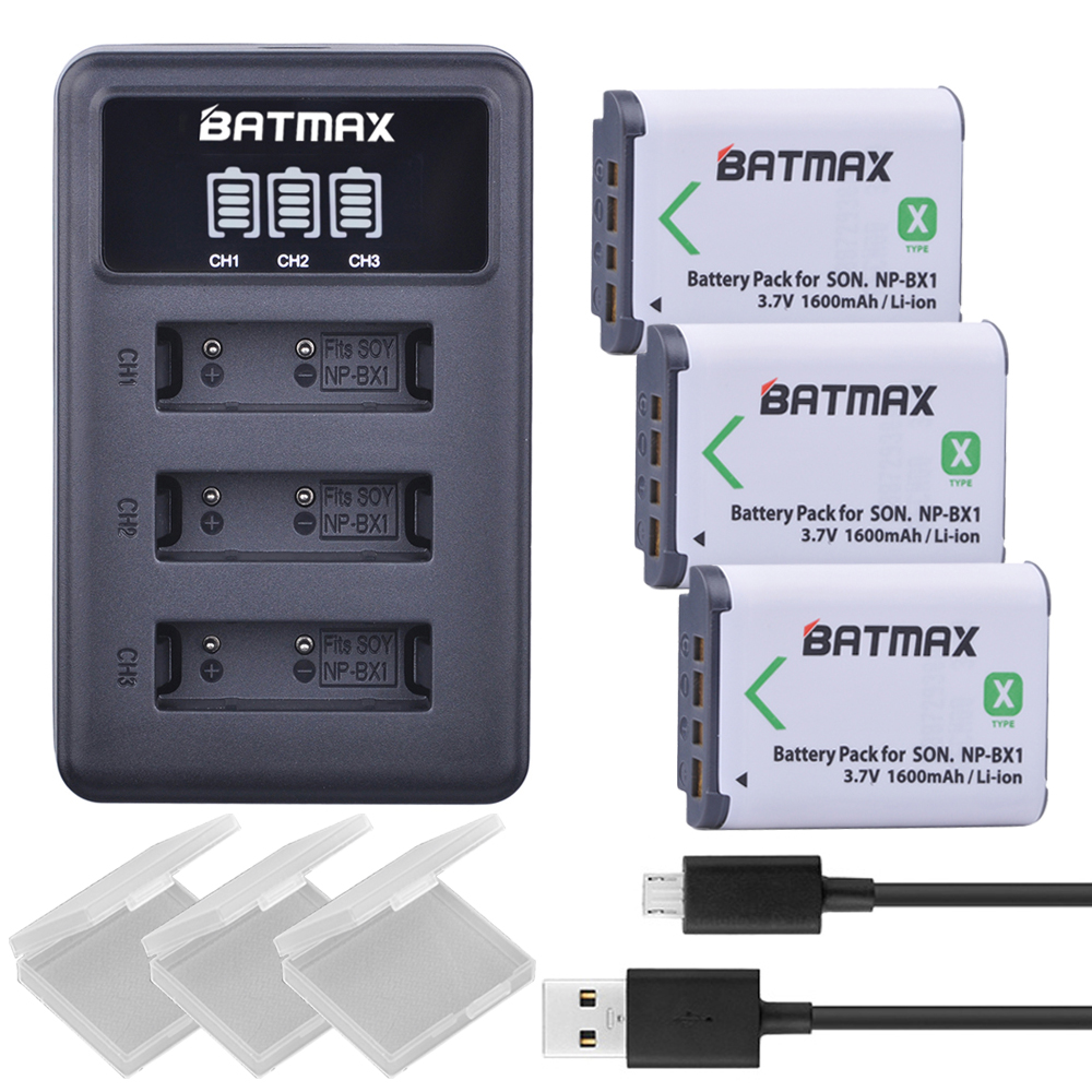 3X NP BX1 Bateria NP-BX1 Battery+ 3-Slots LED Charger for Sony DSC RX1 RX100 AS100V M3 M2 HX300 HX400 HX50 HX60 GWP88 AS15 WX350 np f960 f970 6600mah battery for np f930 f950 f330 f550 f570 f750 f770 sony camera