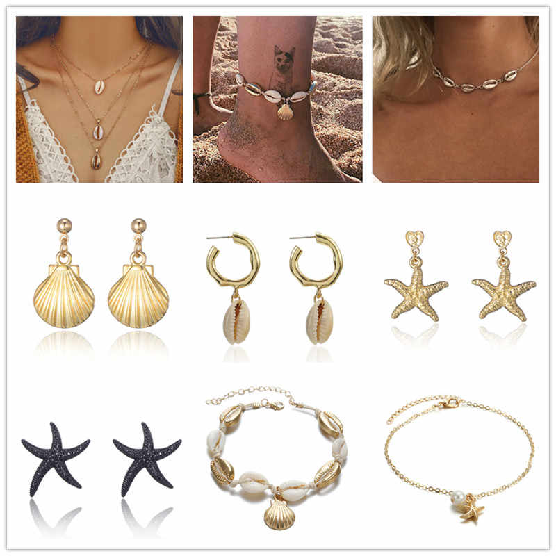 2019 Fashion Bohemian Natural Ocean shell Pendant earrings necklace Anklets For Women Jewelry Set Wholesale NE+EA