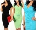 2017 Новый Летний женская Повседневная Dress V-образным Вырезом С Коротким Рукавом для торжеств и вечеринок сексуальная Bodycon Карандаш dress