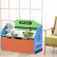 Giantex Kids Crayon Themed Wood Toy Storage Box Colorful Toys Organzier For Kids Toddler Modern Playroom