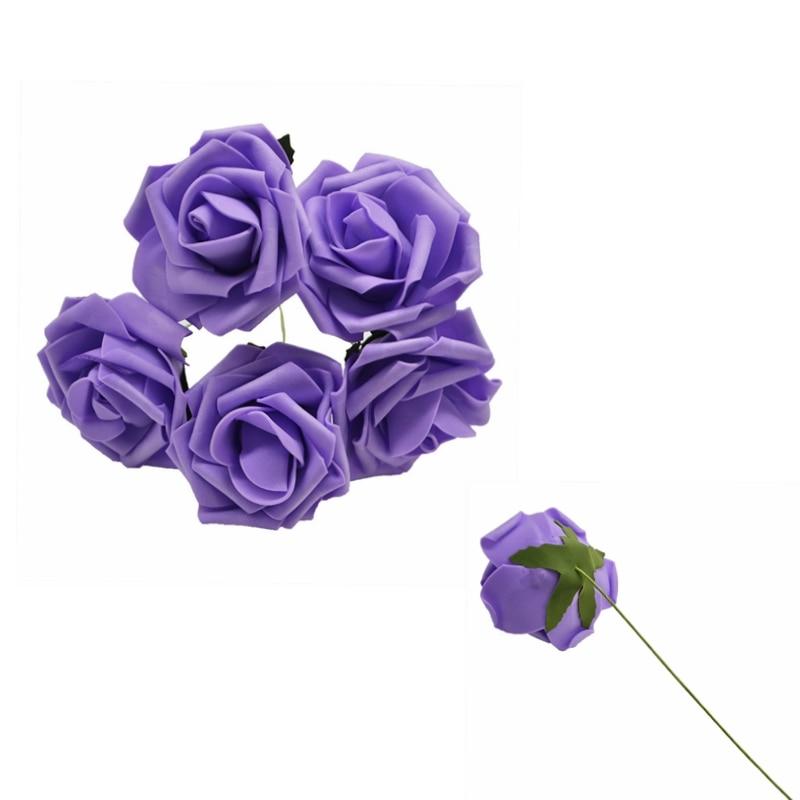 10 шт. 8 см большие ПЭ пенные цветы искусственные розы цветы Свадебные букеты Свадебные украшения для вечеринки DIY Скрапбукинг Ремесло поддельные цветы - Цвет: Purple