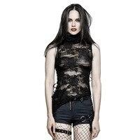 Punk Summer Women High Collar Torn Flower Vest Gothic Decadent Sleeveless T Shirt Broken Tank Tops