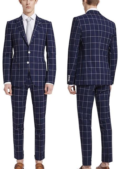 87f1cd6a 2 pieces Men's Navy Check Plaid Tuxedos Formal Bridegroom Wedding Dress  Suits(Blazer+Pants)