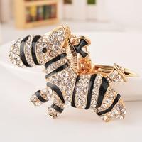 New Style Fashion Crystal Rhinestone 14 K Gold Hollow Out The Zebra Alloy Car Big Key