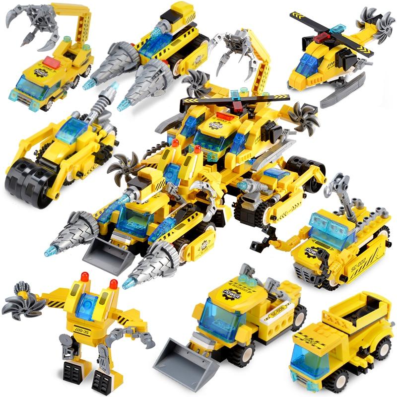 622Pcs Cidade Engenharia Deformação Carruagem LegoINGLs Tijolos Conjuntos de Blocos de Construção Brinquedos Educativos para Crianças Presentes de Natal