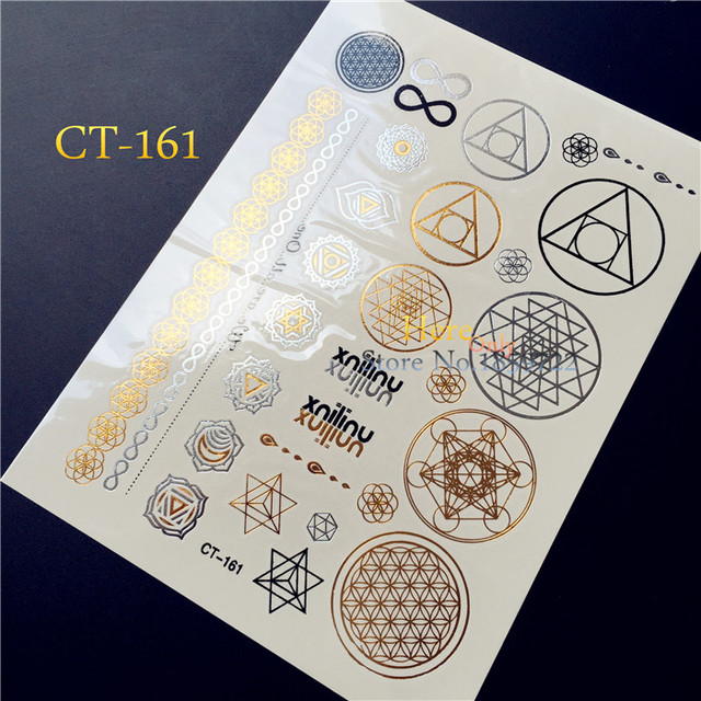 Hot 1PC Fashion Temporary Tatoo Round/Circle/ Lace Necklace Tattoo Metallic Bracelet Flash Waterproof Tattoo Sticker