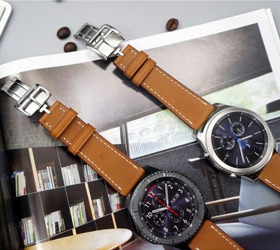 Pour Samsung Gear S3 Classic Frontier 22mm Bracelet en cuir véritable avec outil gratuit meilleur Bracelet de montre de qualité pour montre galaxie