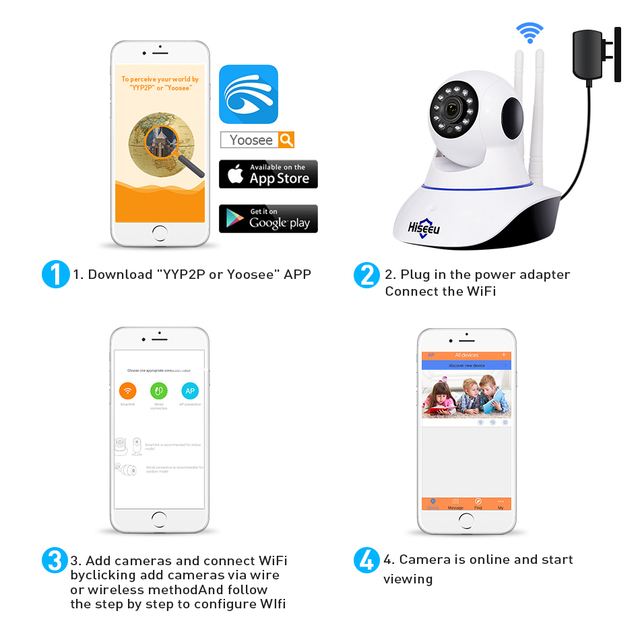 Hiseeu 1080P IP Camera Wireless Home Security IP Camera Surveillance Camera Wifi Night Vision CCTV Camera Baby Monitor 1920*1080 3