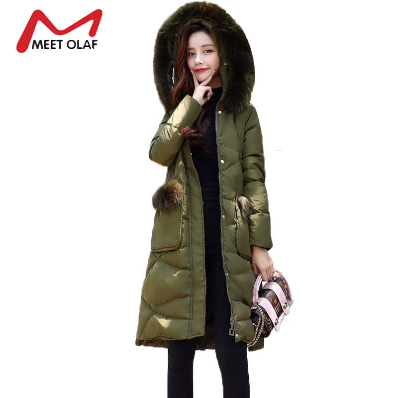 2017 Fur Hooded Women's Winter Down Jackets Female Long Winter Coats Long Parkas Wadded Ladies casacos de inverno feminino Y1731