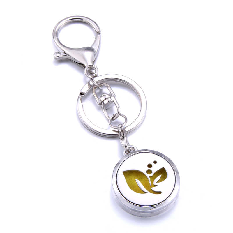 charm Aromatherapy Jewelry leaf pattern Stainless Steel Essential Oil Diffuser Perfume Locket Keychain Keyrings Hanging ornament