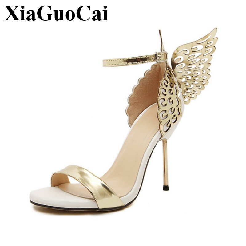 Women Sandals Fashion Metal Heels Sandals Angel Wings All-match Lady Sexy High Heels Sandals Ankle Strap Open Toe Sandals H20935 sgesvier fashion women sandals open toe all match sandals women summer casual buckle strap wedges heels shoes size 34 43 lp009