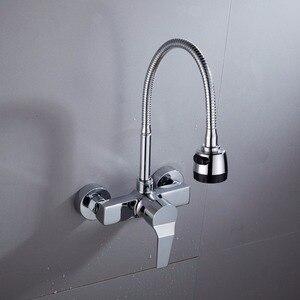 Image 2 - Wandmontage Dubbele Gaten Flexibele Keukenkraan Mixers Sink Tap Muur Keukenkraan Warm en Koud Water XT 21