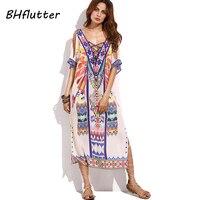 BHflutter 2018 New Sexy Off Shoulder Beach Dress Women Summer Dress Plung V Neck Bohemian Dress