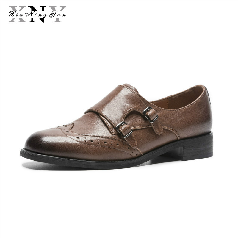 XiuNingYan Genuine Leather Brogues Designer Women Vintage Flats Shoes Big Size Handmade Brown Oxford Shoes for Woman 2018 Autumn xiuningyan women leather flats woman vintage flat shoes round toe handmade black brown 2018 oxford shoes for women british style