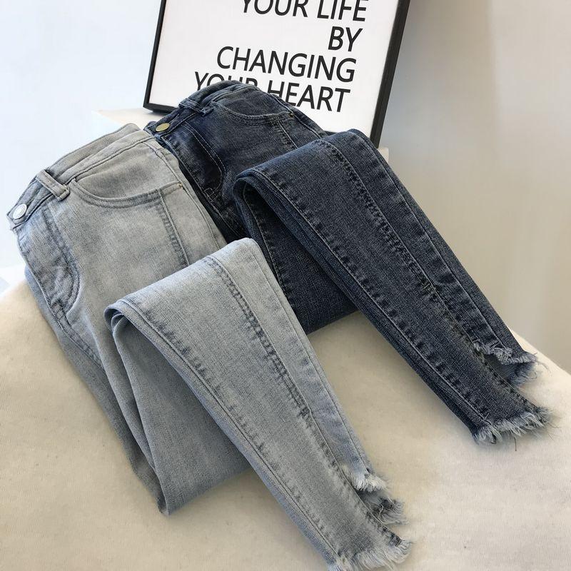 High Waist Jeans Women Korean Style Spring Slim Classic Notched Trousers Girls Ladies Denim Pants Pencil Pants Stretch Jeans