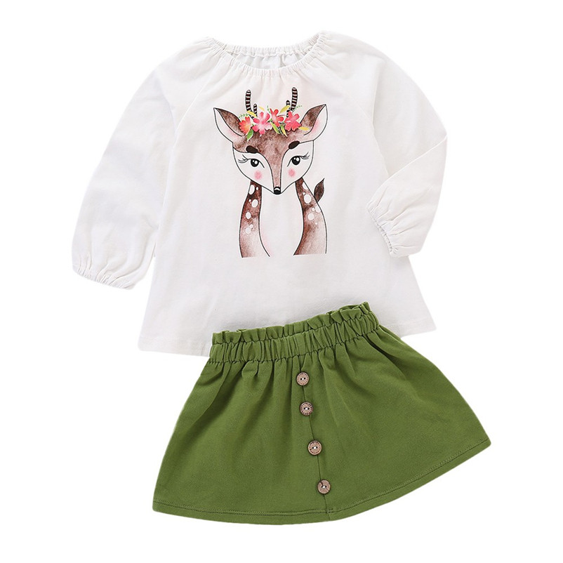 Hot Sale Fashion 2018 New Baby Sets Long Sleeves Christmas Deer Print Tops + Skirt Autumn Winter Cotton Printed Outfits JP5 hot sale round neck creative 3d zipper street scenery print rib hem men s long sleeves sweatshirt