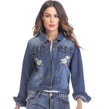 2018 Autumn Jackets for Women Hole Denim Jacket Embroidery Short Long-sleeved Blouse Plus Size