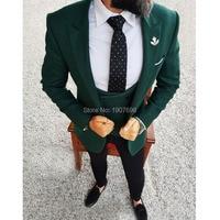 Slit Fit Woolen Men Suits Dark Green Blazer 3 Piece Jacket Black Pants Vest Tailor Made Groom Wedding Tuxedos for Prom