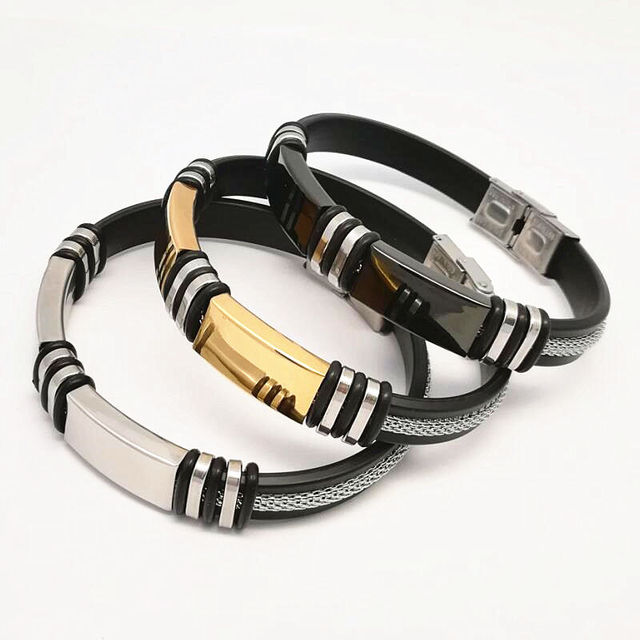 Fashion Man Punk Jewelry Simple Design Gold/Silver Stainless Steel ...
