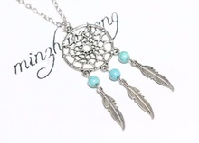 Vintage Antique Silver Turquoise Tree Leaf Dream Catcher Pendant Necklace Dreamcatcher Charm Necklace Statement Jewelry Women stylish faux turquoise carving leaf tassel necklace for women