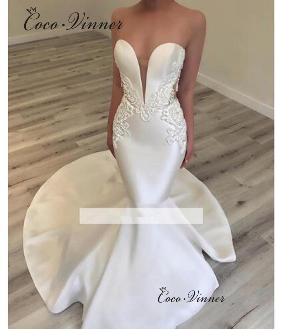 V Neck Elegant Satin Mermaid Wedding Dress 2020 Vestido De Noiva Trouwjurk Trumpet Wedding Bride Dress Wedding Gowns W0456