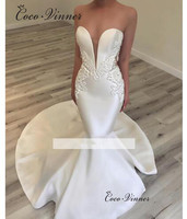 V neck Elegant Satin Mermaid Wedding Dress 2019 Vestido De Noiva Trouwjurk Trumpet Wedding Bride Dress Wedding Gowns w0456