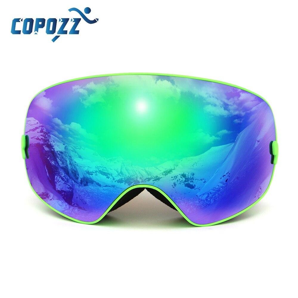 COPOZZ marca gafas de esquí doble lente UV400 Anti niebla Unisex de esquí Snowboard gafas con la visión nocturna de la Lente de la nieve adultos