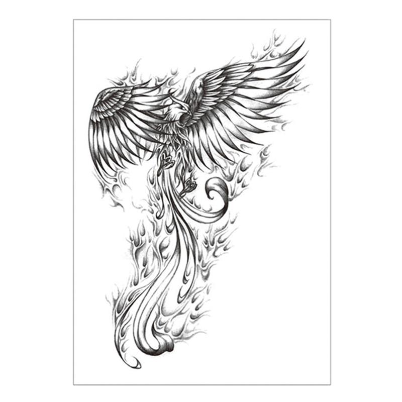 Black Phoenix Temporary Tattoo Sticker,15*21cm Flash Tattoo Stickers, Waterproof Fake Tatoo Henna Wall Sticker