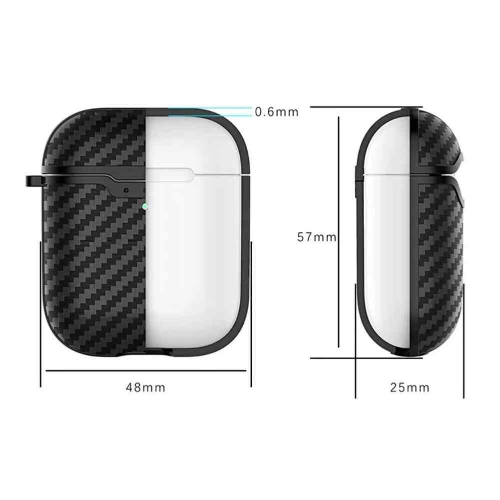 Airpods ための 1/2 シリコーンケースワイヤレス充電ボックス炭素繊維テクスチャソフトシェル充電ケースイヤホンケース S