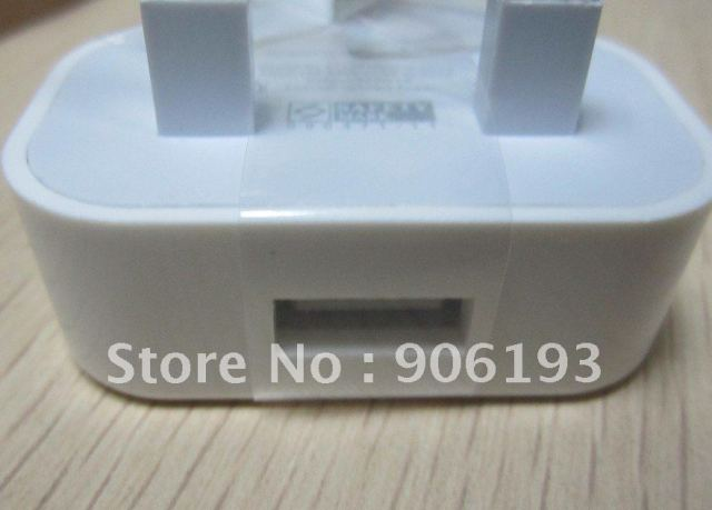 wholesale 200pcs/lot NEW UK AC home wall adapter usb charger adaptor for iphone for ipod mobile phone mp3/4/5